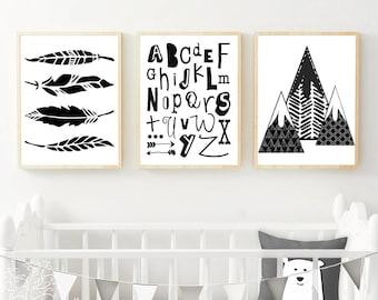 11x14 Nursery Print Set, Boho Bedroom Wall Art, Tribal Prints, Teepee Prints, Boho Nursery, Tribal Decor, Kids Wall Art Prints, woodland