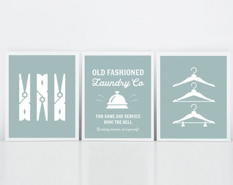 Laundry Room Art, Set of Three Prints, Vintage Laundry Sign, Clothes Pins, Hangers