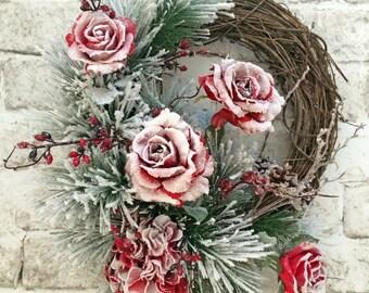 Christmas Wreath, Winter Wreath, Christmas Decor, Holiday Wreath,Holiday Decor,Grapevine Wreath,Silk Wreath,Outdoor Wreath,Front Door Wreath