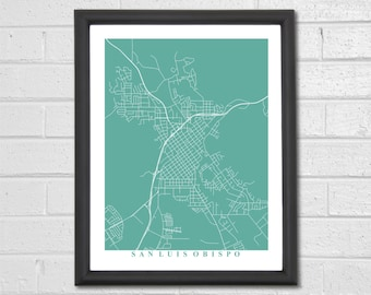 San Luis Obispo Map Art - Map Print - California - Custom Map - Home - Map Gift - Wedding Gift - Housewarming - Anniversary - Home Decor