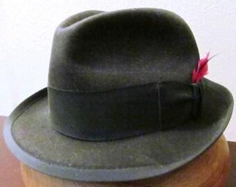 Vintage Black Beaver Felt Fedora Custom made by Bourse-Sellini