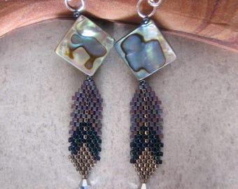 Paua Shell and Peyote Stitch Feather Earrings