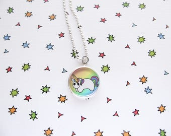 Rainbow Unicorn Necklace, Happy Horsey, Cute Horse Pendant, Accessories, Jewelry, Funny, Unicorn Lover Gift, Silver Plated, Ball Chain