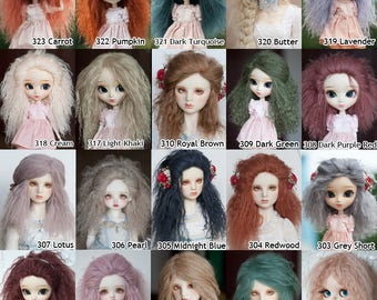 Custom Tibetan Mohair Wig for BJD SD Msd Yosd Dolls Regular / Extra Length over 40 colors Size from 14cm to 24cm Blythe and Pullip Available