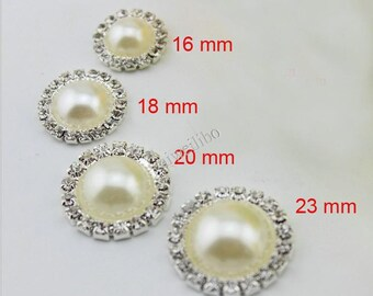 10pcs Pearl And Rhinestone Button Flatback Embellishment DIY Accessories