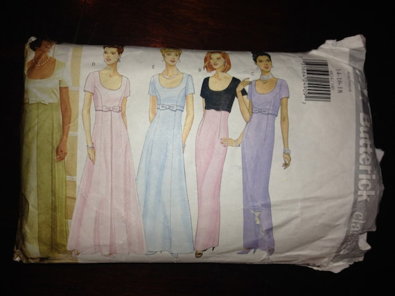 Butterick 4824 Sewing Pattern 90s Misses High Waisted Formal Dress Gown Size 14-16-18
