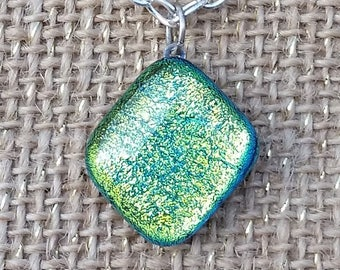 Blue Green Yellow Color Changing Dichroic Glass Diamond Shaped Pendant Necklace