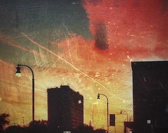 Ferndale Colorful Skyline Sunset Fine Art Photographic Print on Metallic Paper