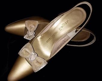 Vintage, 1960's, Andrew Geller, Dayton's, Oval Room, Gold, Matte, Dressy, Shoes, Slingback, Pumps, Heels, 8AAA