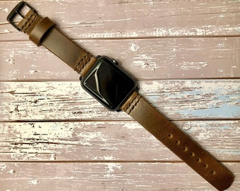 Leather Apple Watch Band | Handcrafted with Brown,English Tan,or Black Leather, 42mm or 38mm Adapters/Buckle,Handmade w/Horween Leather