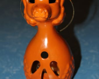 Truly Unique Vintage Ceramic Orange Poodle Candle Holder / Lantern