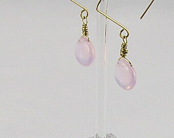 Square Earrings - Pale Pink Opalite Briolettes (E165)
