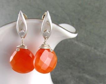 Carnelian earrings, handmade sterling silver post earrings