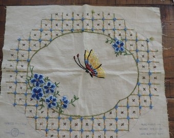 Vintage Floral Needlework Butterfly Crewel  Project pillow Fabric  Floral Needlework Unframed Unusesd Vintage Crewel