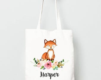 Fox Tote Bag, Monogrammed Bag for Kids with Flowers