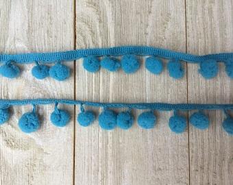 Pom Pom Trim-TRUE BLUE-1/2 inch ball-2  yards