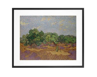 Vincent van Gogh - Olive Trees - 1889 Post-Impressionist Oil Painting High Quality Print
