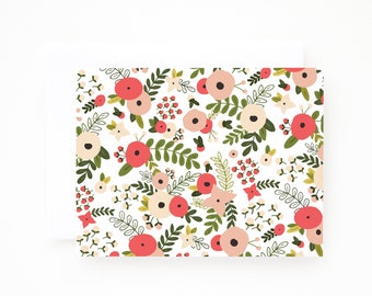 Floral Notecard Set of 8 | Folded Illustrated Notecards with Hand Drawn Botanical Pattern: Blooming Wreath Collection