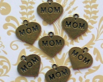 8 Mom Charms Antique Bronze Tone Heart - BC470
