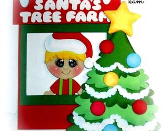 Elite4u Kam Christmas Tree Farm Boy & Tree Paper piecing Die cut for Premade page Album
