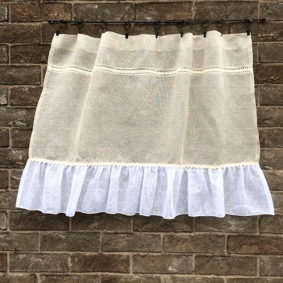 Sheer Linen Panel Natural Rustic Kitchen Window Curtain