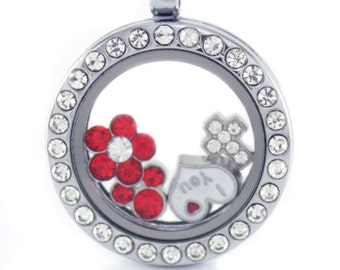 Silver Circle Floating Locket w/ Choice of 6 Charms