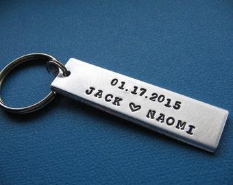 Custom Stamped Keychain, Couples Keychain, Anniversary Keychain, Gift for Her, Gift for Him, Anniversary Gift, Gift for Dad, Gift for Mom