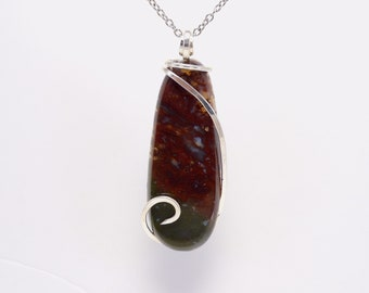MURRAY MT  Moss Agate in Cold Forged Sterling Silver Pendant