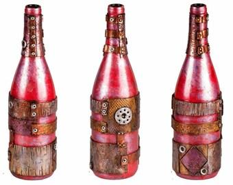 """11"""" Steampunk Oil Lamp Bottle - Red/Purple"""