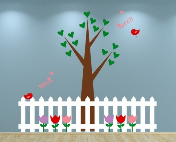 Tree, Birds and Picket Fence Wall Decal by EmpireCityStudios