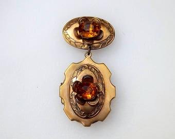 Victorian Revival Locket Brooch Amber Color Rhinestone Accents