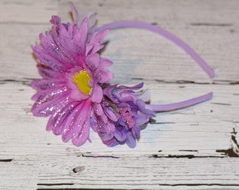 Headband with Lavender Glitter flowers