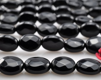 15 icnhes of Black Onyx faceted oval beads in 13X18mm