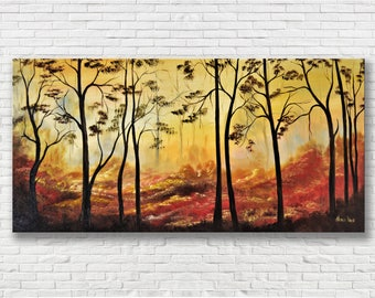 Fall Forest oil painting, fall trees art, trees fall nursery wall art,  Aliona Price, fall trees home decor, 24x48