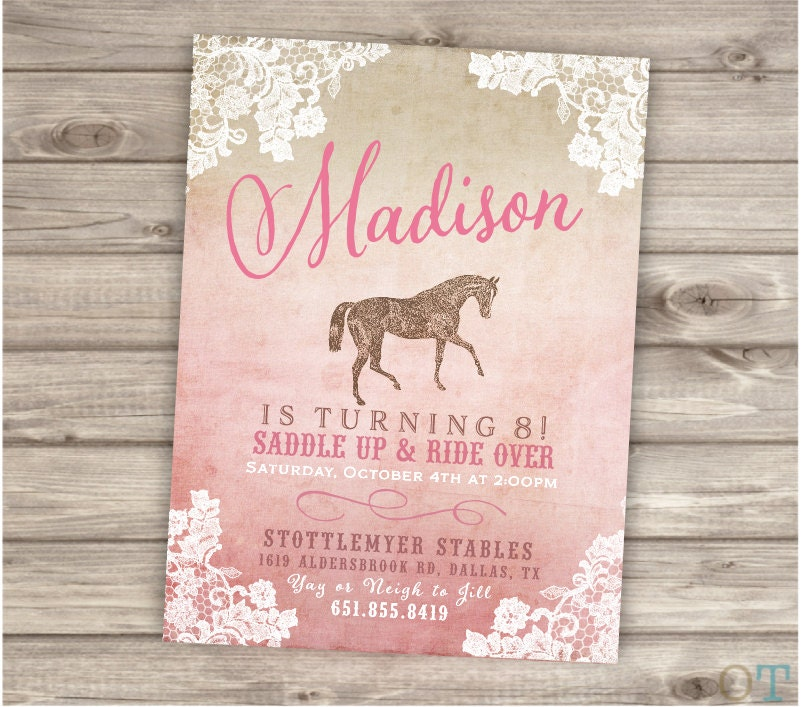 Printable Rustic Lace Horse Birthday Invitations Shabby Chic