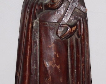 """Antique 19th Century Continental Carved Softwood 11"""" Sculpture of Virgin Mary"""