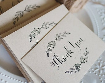 Kraft Paper Thank You Cards -   6 pack