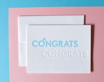 Congrats Congrats! Letterpress notecard for Baby Boy