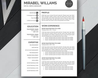 Resume Template, Professional CV Template, Cover Letter, Creative Resume Design, Modern and Simple Resume, Word, Instand Download, Mirabel