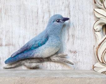 SALE needle felted BLUEBIRD BROOCH pin felt fibre art bird pin pale blue jewellery wool embroidery elegant brooch