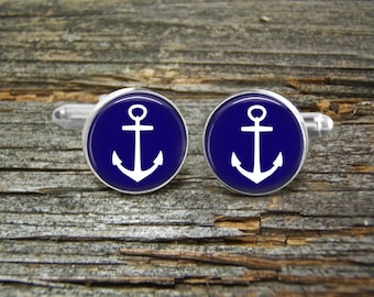 Anchor Nautical White Navy Cufflinks -Wedding-Jewelry Box-Silver-Keepsake-Gift-Man gift-Graduation-Science-Men-GeekGroom-Groomsmen-Sailor