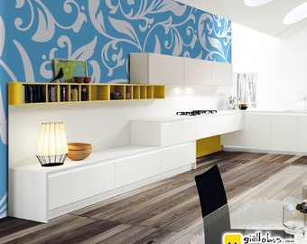 Self-adhesive wallpaper-Vintage-blue flowers-yellow BUS