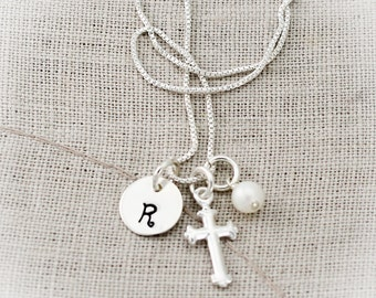 Cross Charm Necklace, Confirmation Cross Necklace, First Communion Cross Necklace, Personalized Hand Stamped Jewelry