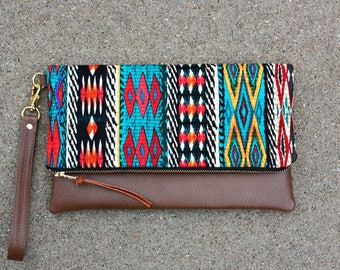 Tribal Bohemian Foldover Clutch