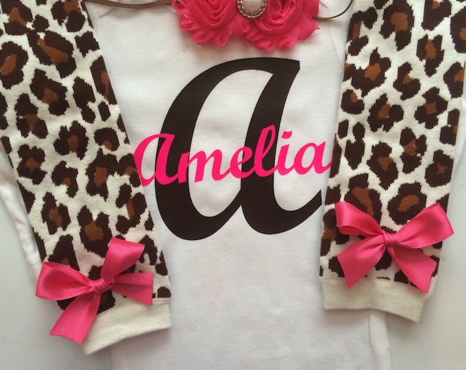 Baby girl outfit- Leopard baby girl outfit - leopard leg warmers- Personalized baby outfit - personalized baby clothes- leopard print outfit
