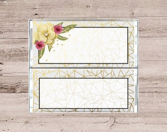 Modern Gold Lines and Flowers Wedding Chocolate Bar Wrapper-Wedding Candy Bar Wrapper-Gold and Flowers Candy Bar Wrapper-Gold Chocolate Bar