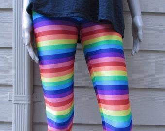 Rainbow Striped Spandex Leggings