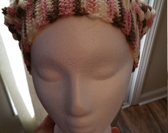 Hand crocheted puff stitch slouchy hat.