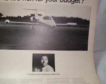 1968 GATES LEARJET Fortune Magazine Ad.