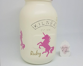 Personalised, Painted, Cream/Pink Unicorn Kilner Jar, Make up Brush Holder.Pen Pot/Bridesmaid Gift/Nursery/Girls bedroom/Birthday